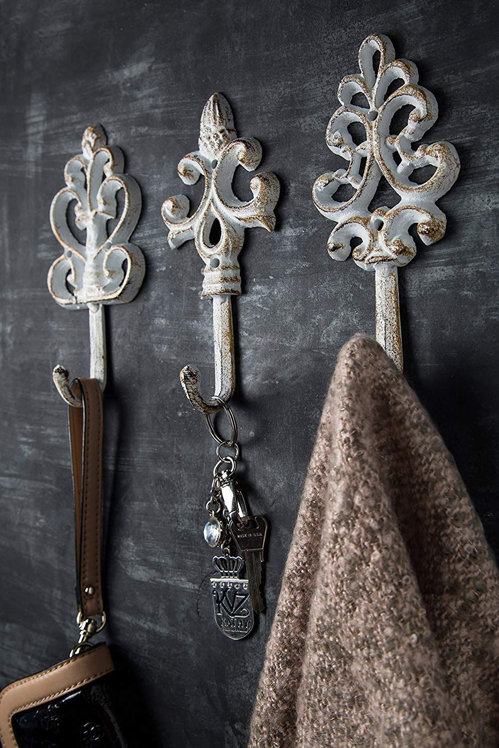 Shabby Chic Cast Iron Decorative Wall Hooks Rustic Antique