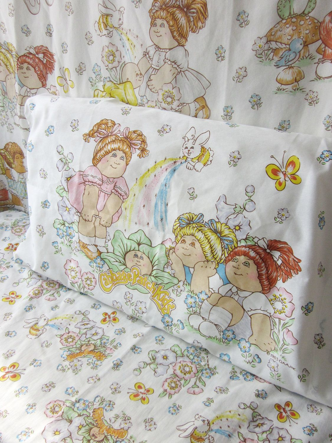 Vintage Cabbage Patch Kids Twin Sheet Set Cabbages