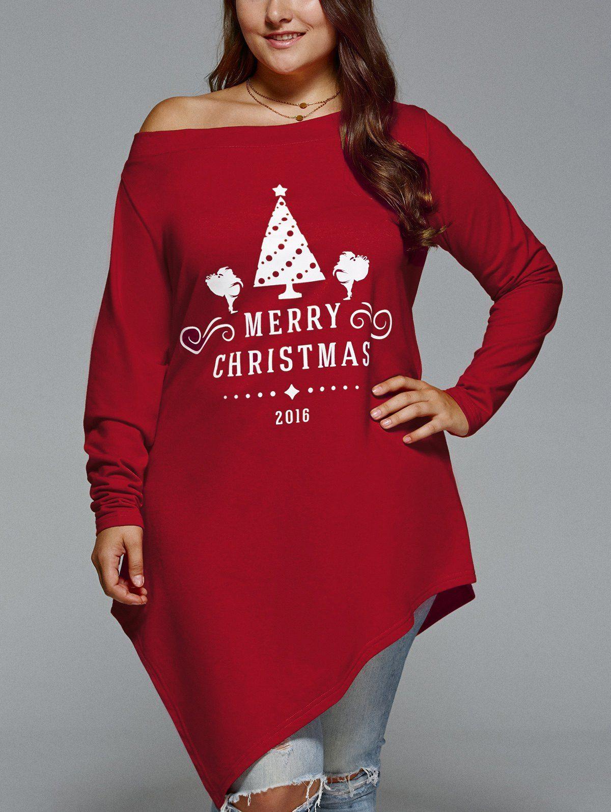plus size merry christmas print asymmetric top