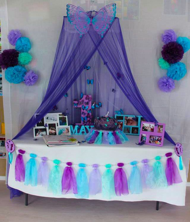 Purple Turquoise Mint Butterfly Birthday Cake Table
