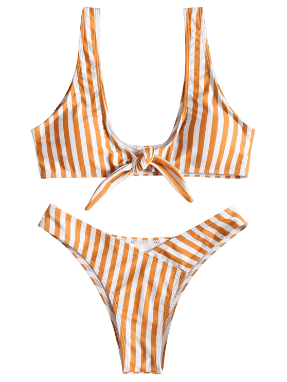 Front Knot Striped Bikini Set Black Golden Brown Pink And White