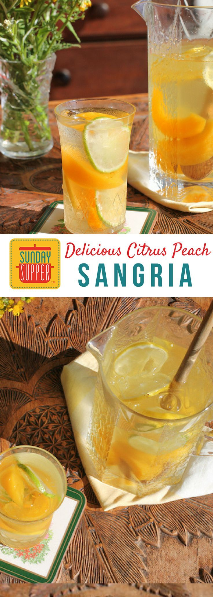 Have you always wondered how to make mixed drinks? Well then,#SundaySupperhas the perfect thing for you! Be sure to check out our Sunday Supper recipes in which we share lots of simple mixed drinks that you're sure to love - like this Citrus Peach Sangria!#SundaySupper #simplemixeddrinks