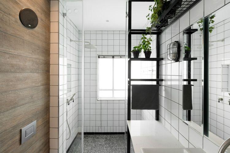 Wohnen Bauhausstil Badezimmer Gestaltung Weiss Kacheln