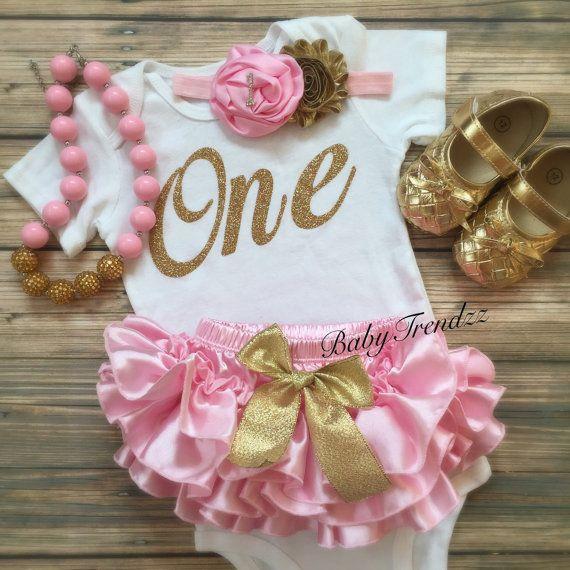 Pink Gold BirthdayVintageFirst Birthday ruffle by BabyTrendzz