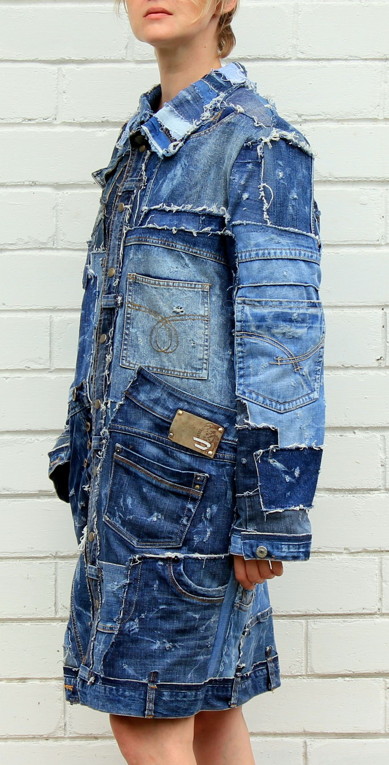 Stonewashed Jeans Patchwork Coat Distressed Long Denim Jacket Hipster Grunge Style Ripped Denim Long Denim Jacket Custom Denim Jacket [ 2470 x 1258 Pixel ]
