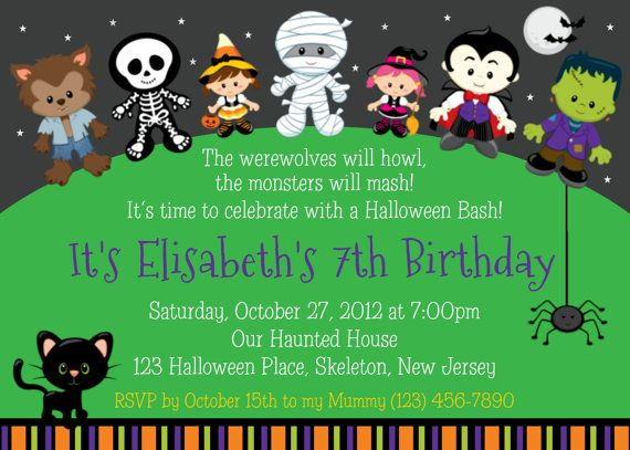 New Halloween Birthday Invitation By Afairytalebeginning On Etsy