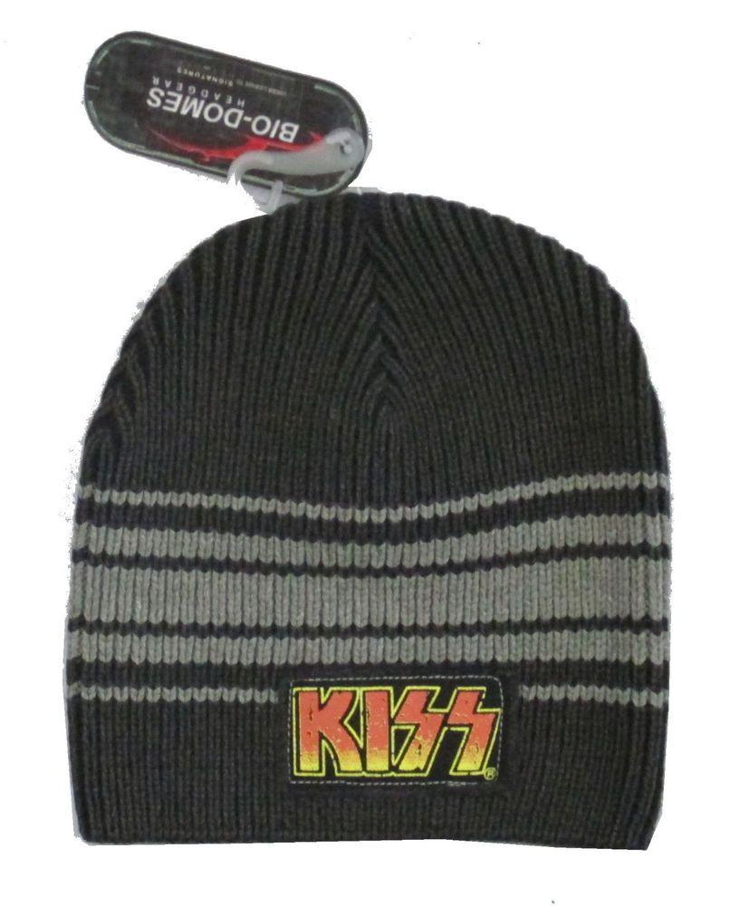 KISS DISTRESSED PATCH LOGO GREY BEANIE SKI HAT NEW OFFICIAL LICENSED NWT   fashion  clothing 192ea455b1c4