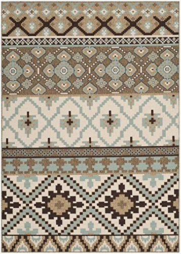 """Safavieh Veranda Collection VER097-0215 Cream and Brown Area Rug, 5 feet 3 inches by 7 feet 7 inches (5'3"""" x 7'7"""")"""