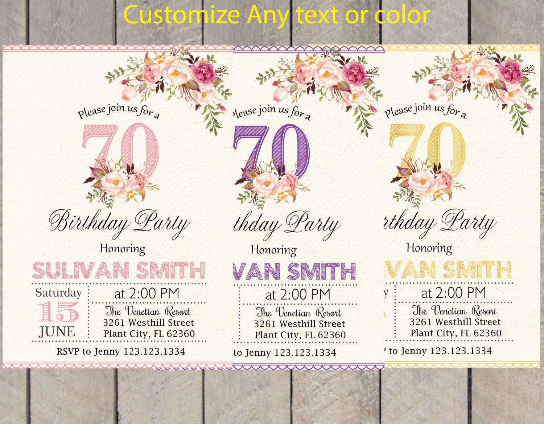 70th birthday invitation for women- Surprise 70th birthday invite - gold purple pink boho birthday invitation for milestone birthday PE316 by Ninjalozo on Etsy https://www.etsy.com/au/listing/291696629/70th-birthday-invitation-for-women