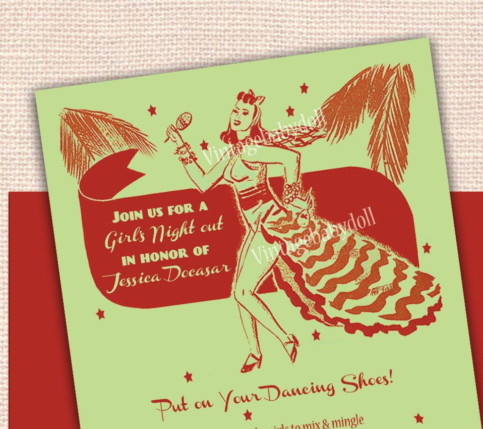 Dancing Girl\'s Night Out or Bachelorette Party Invitation - 1950\'s ...