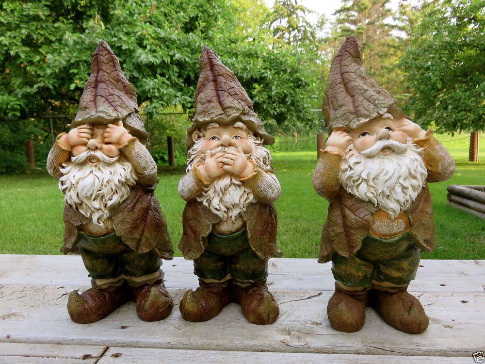 3 No Evil Garden Gnomes
