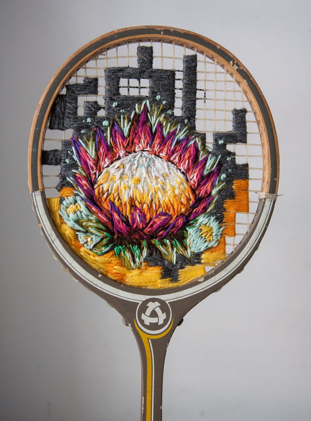 Flowers Embroidered On The Strings Of Vintage Rackets And Other Thread Artworks By Danielle Clough Embroidery Art Tennis Racket Art Racquets