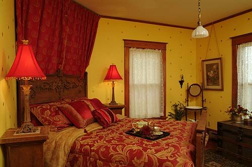 Yellow Bedroom With Red Accents So Luxorious Looking Bedroom Red Red Bedroom Decor Yellow Room