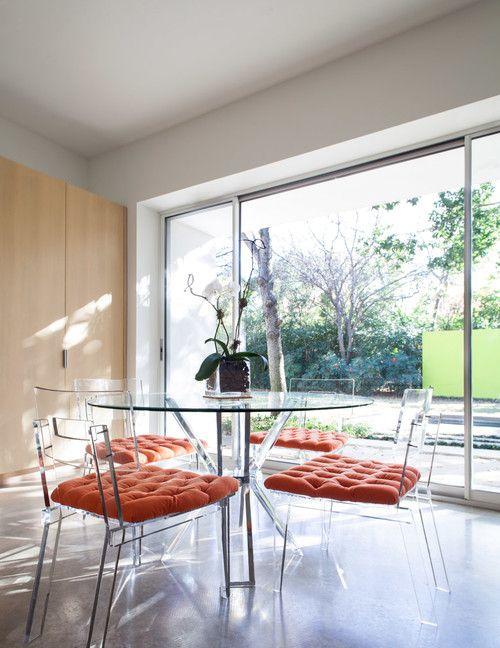 Clear acrylic furniture maximizes visual space & creates a ...