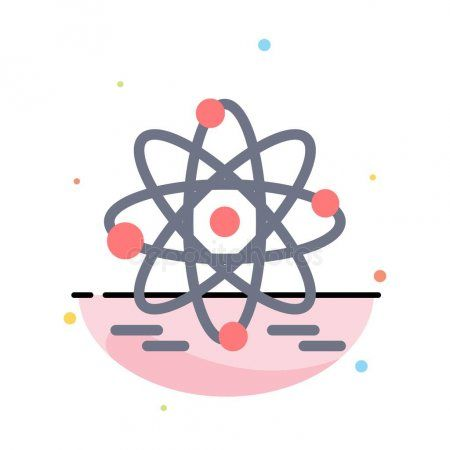 Atom Education Nuclear Abstract Flat Color Icon Template  Stock Vector