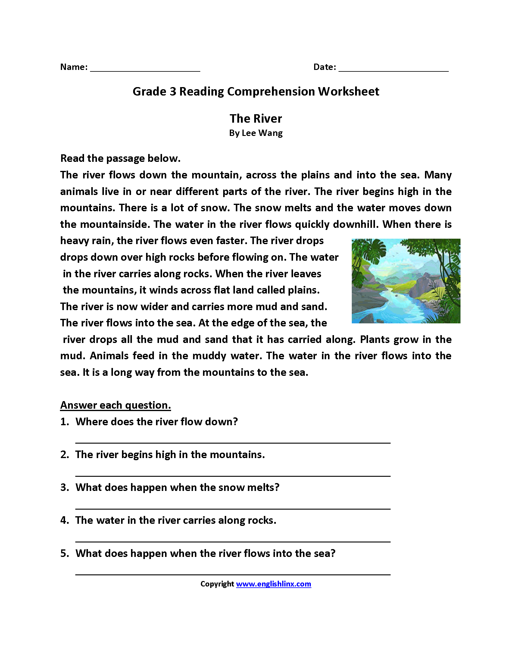 The River Third Grade Reading Worksheets