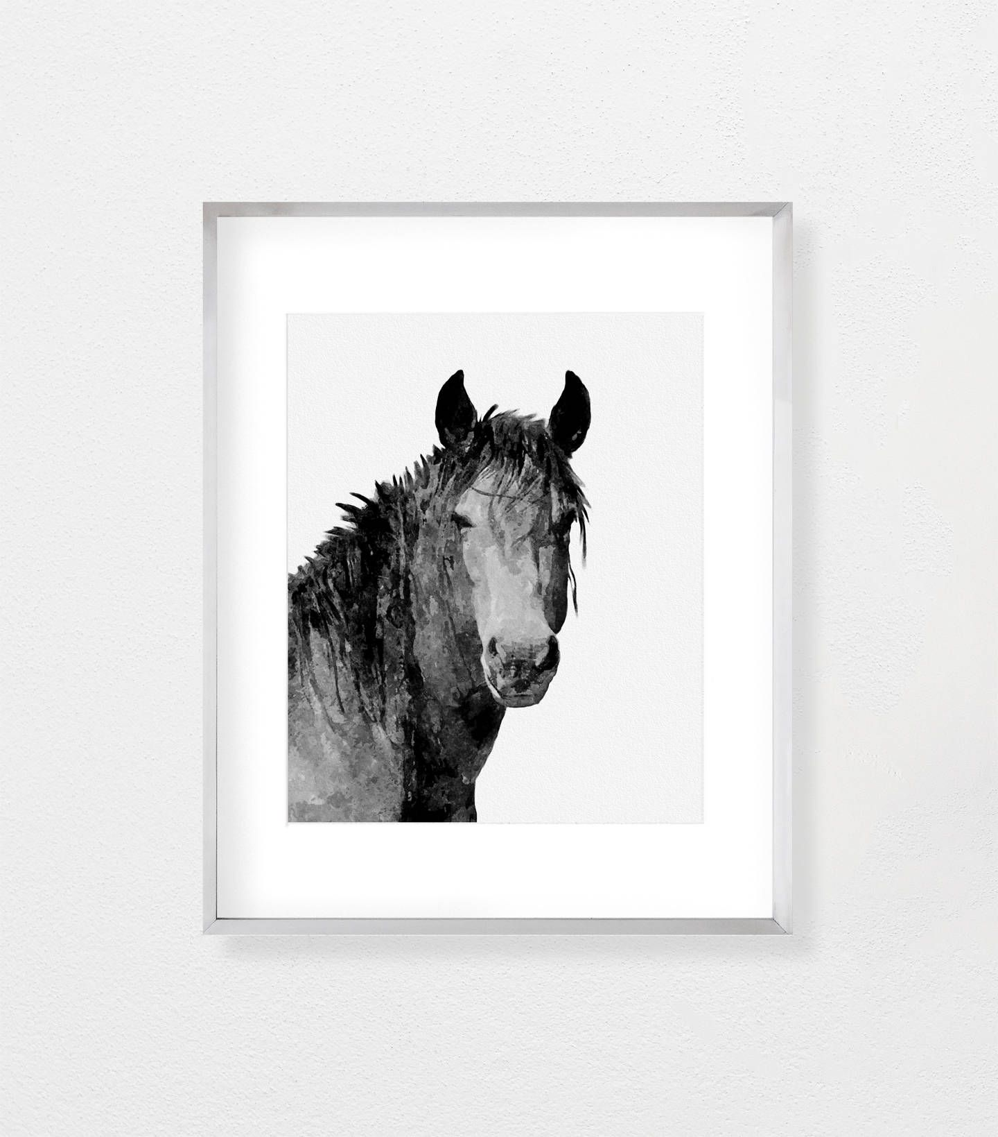 Horse print horse wall art horse painting black and white large