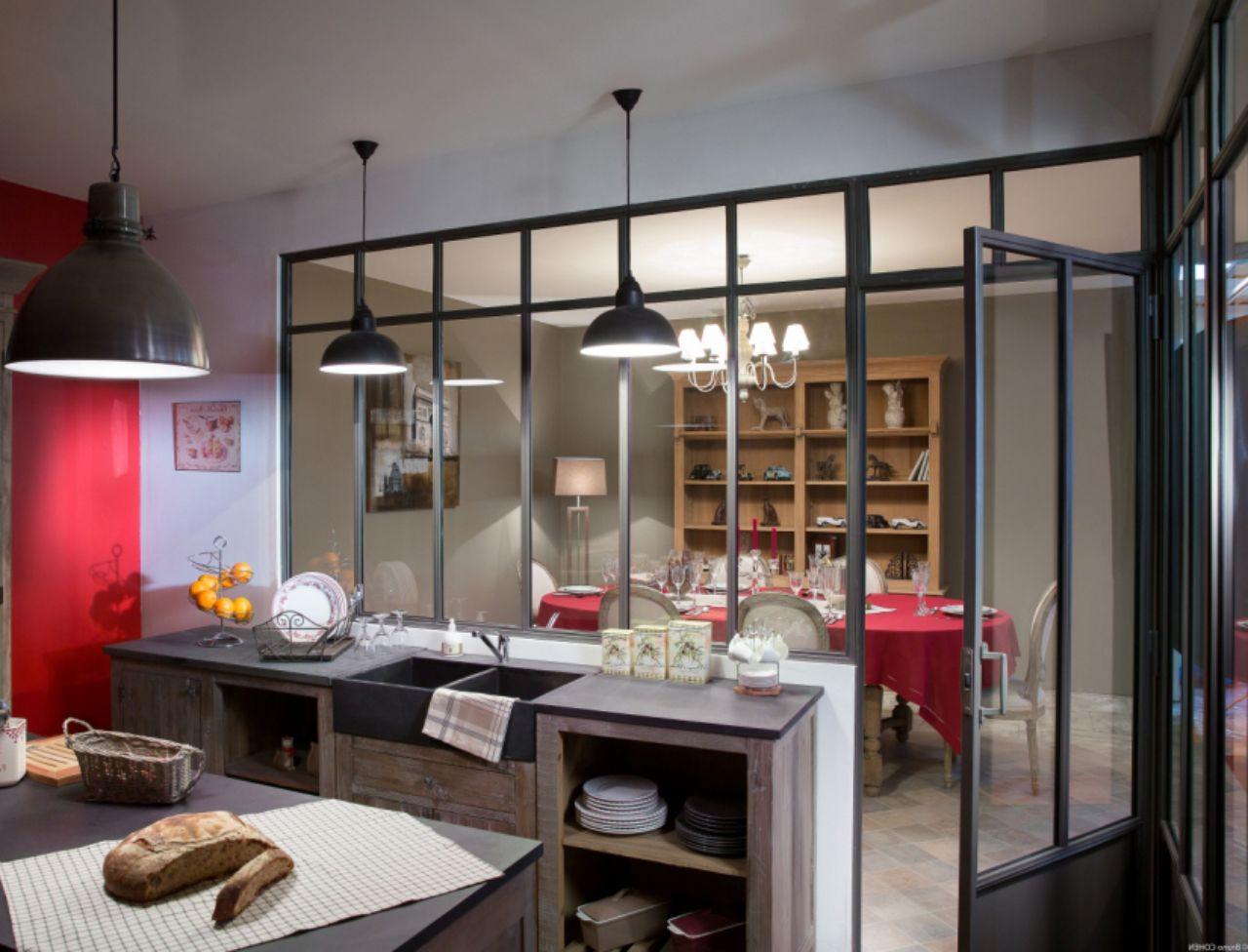 Cuisine avec verri re kitchen glass kitchen semi open - Petite cuisine amenagee pas cher ...