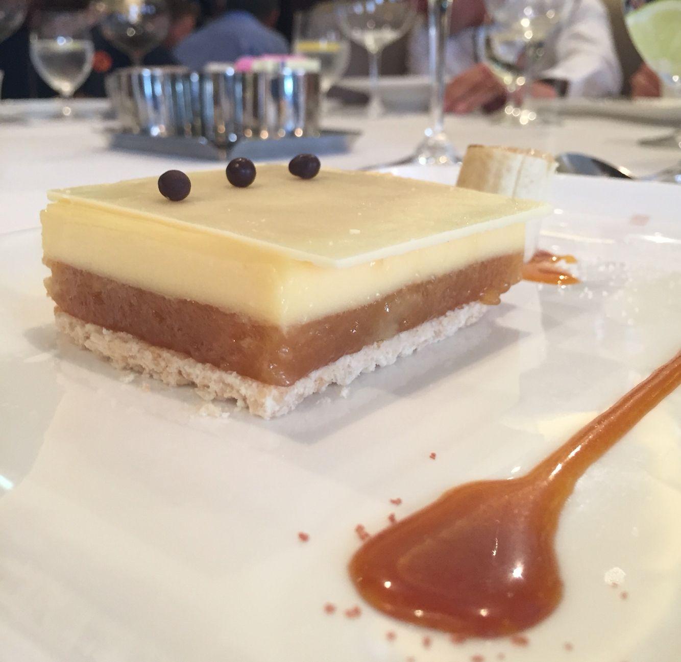 Sensational caramel tart with flambé banana onboard