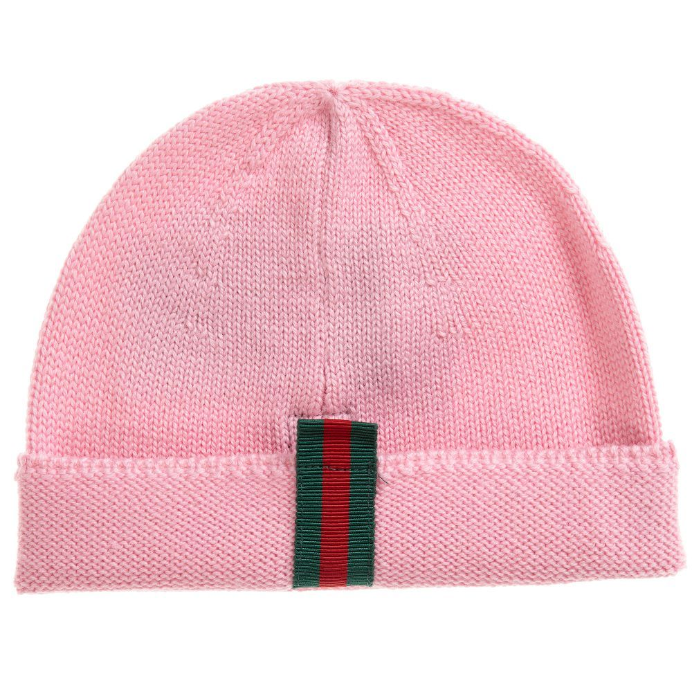 4a7bf5df8bbd8 Pink Wool Knitted Hat for Girl by Gucci. Discover more beautiful designer  Hats for kids online