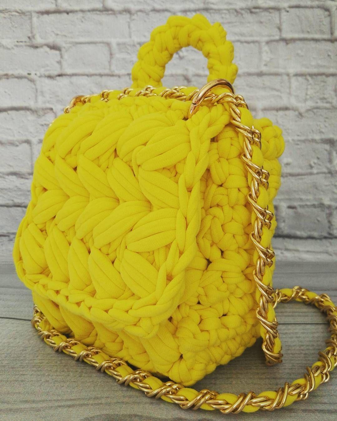 f146bc3d164d сумка из трикотажной пряжи крючком схема | Сумки | Wool blanket ...