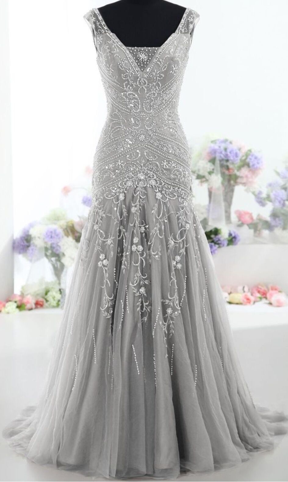 Silver long back up lace v neck beading prom dresses for Silver wedding dresses 25th anniversary