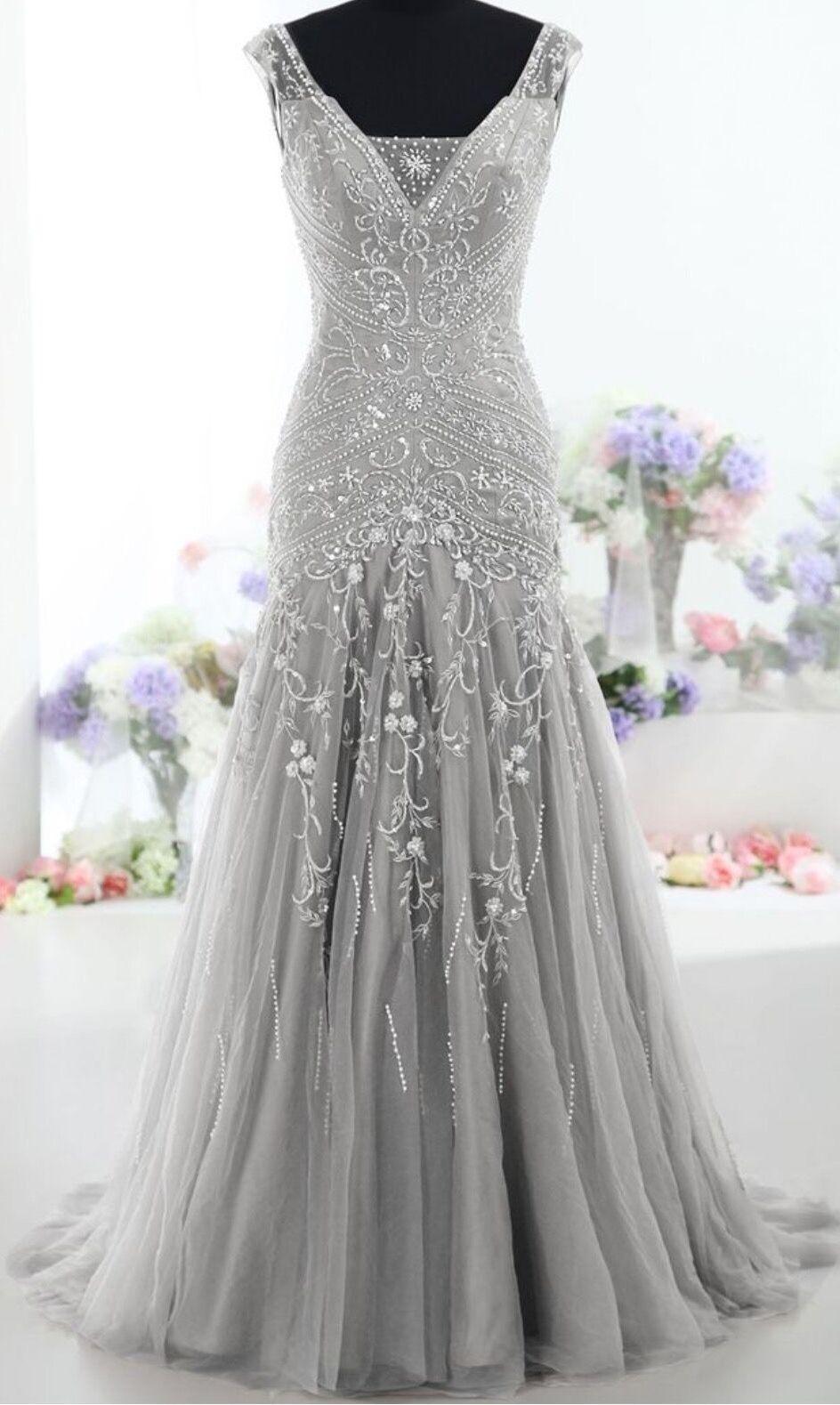 Pretty gray long mermaid beading prom dresses charming evening