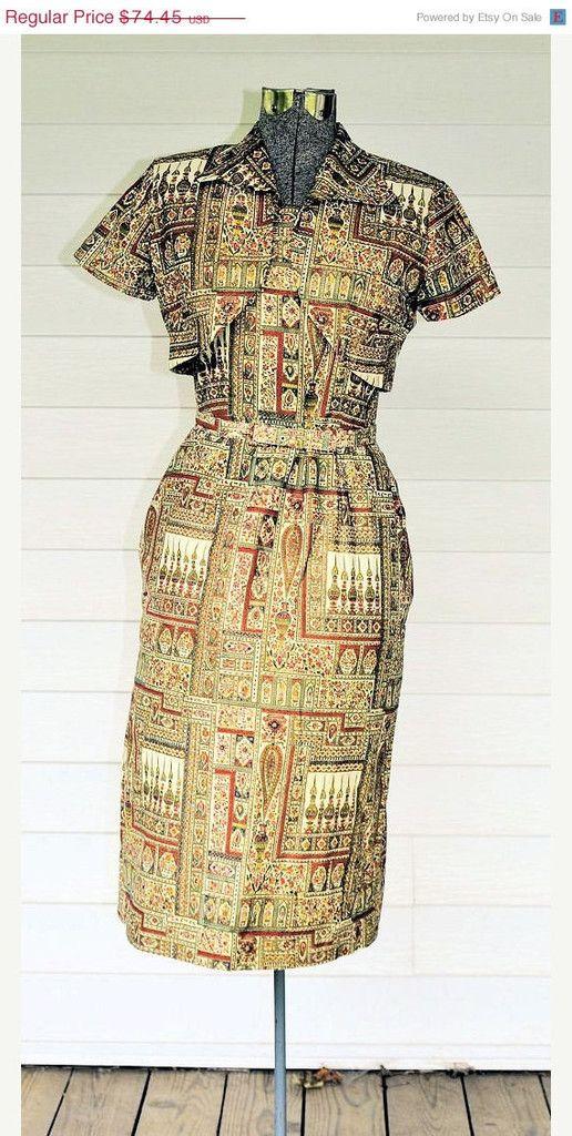 Mediterranean Bark Cloth 1950s Sun Dress And Bolero Jacket Size Small 016rh Vintage 1950s Dresses Dresses Vintage Dresses 50s