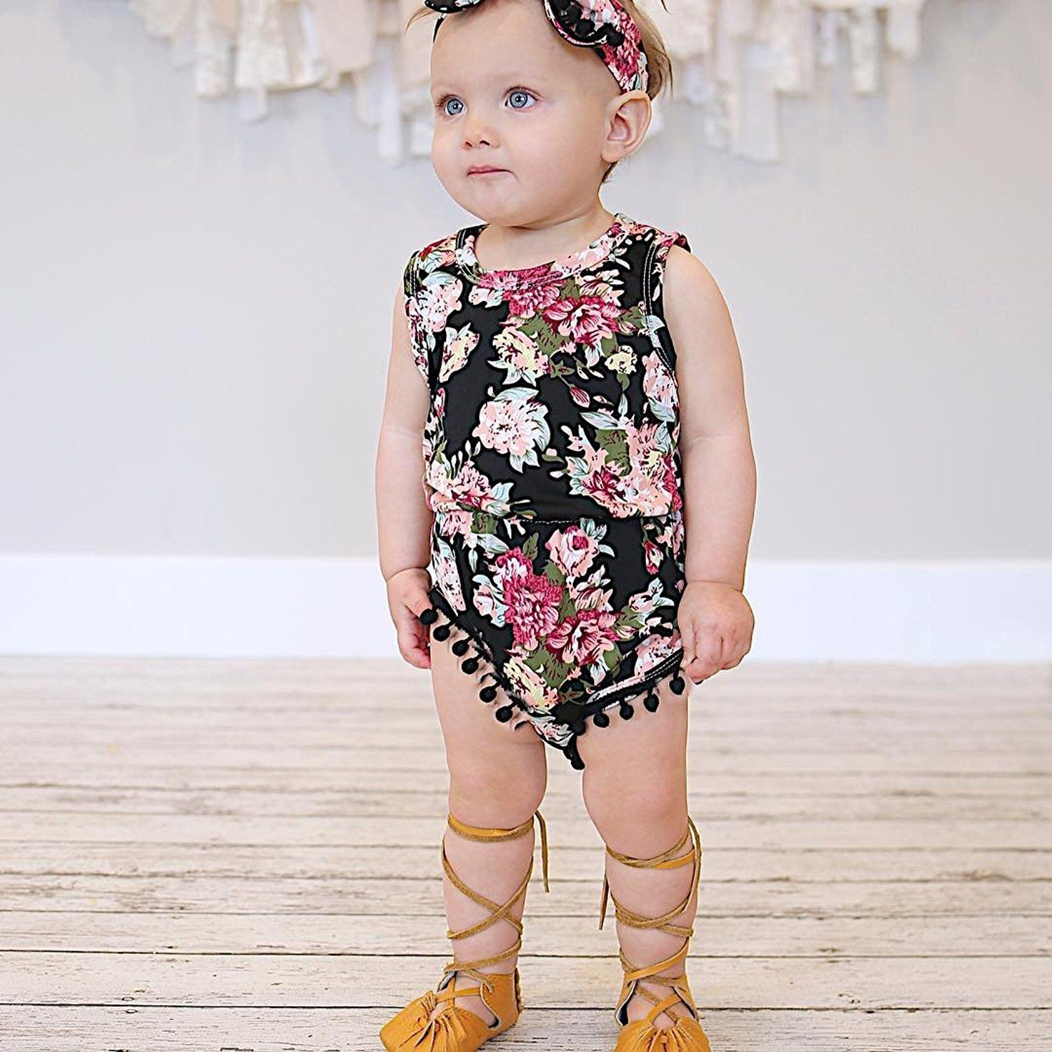207c265e5 Amazon.com: Cute Adorable Floral Romper Baby Girls Sleeveless Tassel Romper  One-pieces +Headband Sunsuit Outfit Clothes (18-24 Months, Black): Clothing