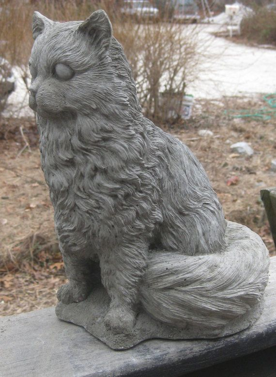 Large Sitting Cement Cat Statue By Springhillstudio On Etsy
