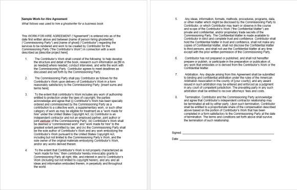 Sample Work For Hire Agreement Work For Hire Agreement Template