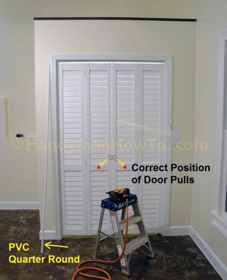 How To Install A Bi Fold Closet Door Handymanhowto Com Bifold Closet Doors Folding Closet Doors Closet Door Handles