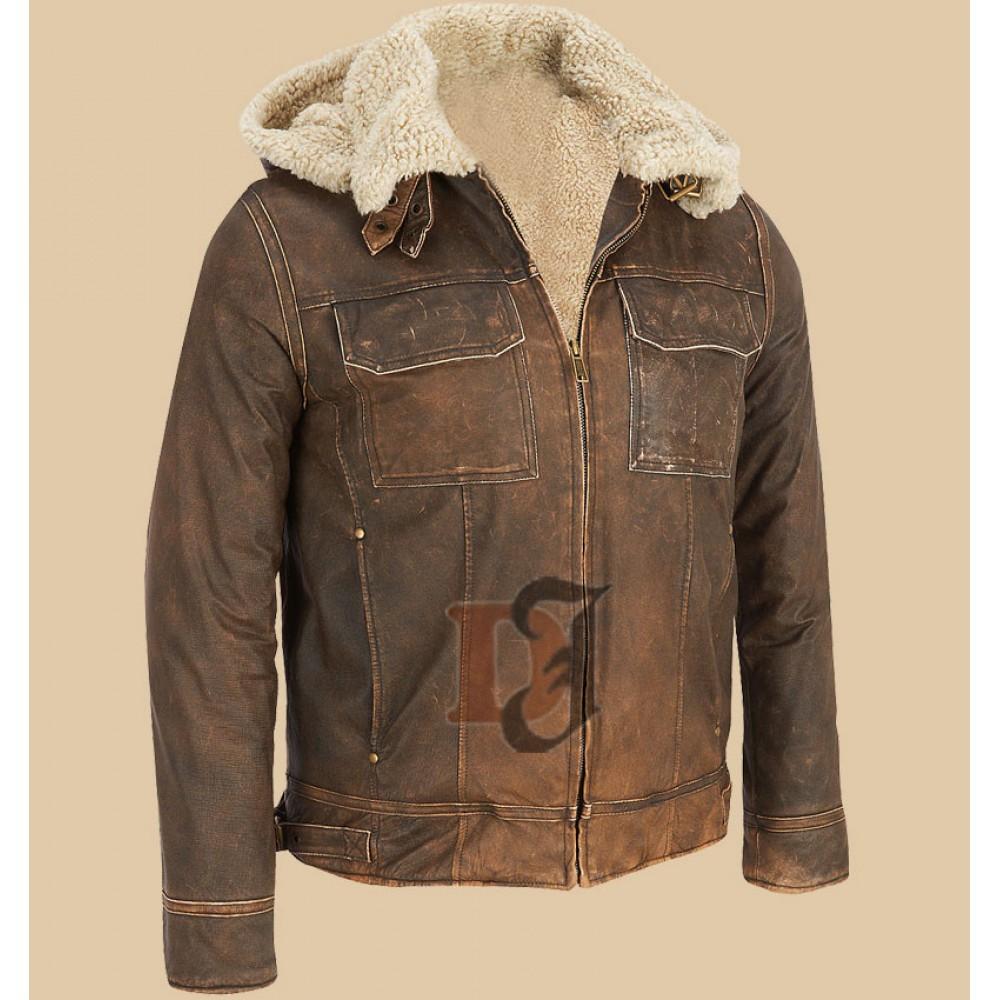 Dark Brown Contrast Faux Fur Hooded Leather Jacket Dark