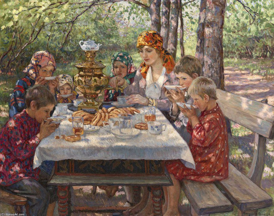 The Teacher's Guests by Nikolay Bogdanov Belsky (1868-1945, Russia)