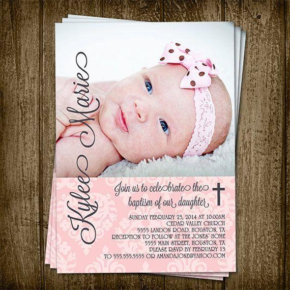 Diy Printable 5x7 Demask Baby Girl Baptism Invitation With