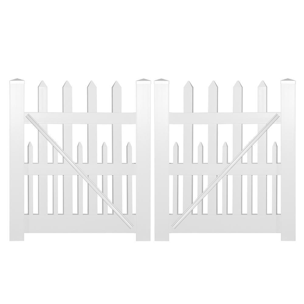 Weatherables Ashville 8 Ft W X 4 Ft H White Vinyl Picket Fence Double Gate Kit Vinyl Picket Fence Double Gate Vinyl Gates