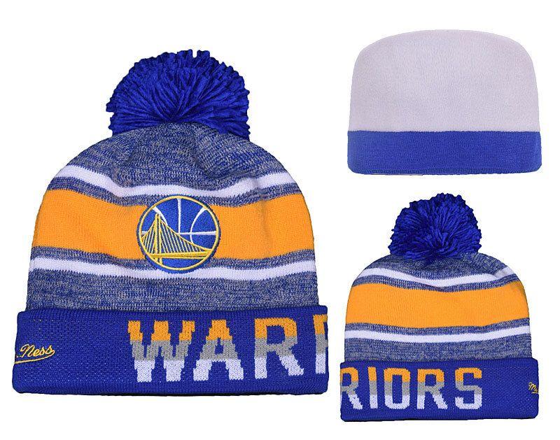 Men s   Women s Golden State Warriors Mitchell and Ness NBA Trifecta Cuffed  Pom Pom Knit Beanie Hat - Blue   Gold 29167eb7de7e