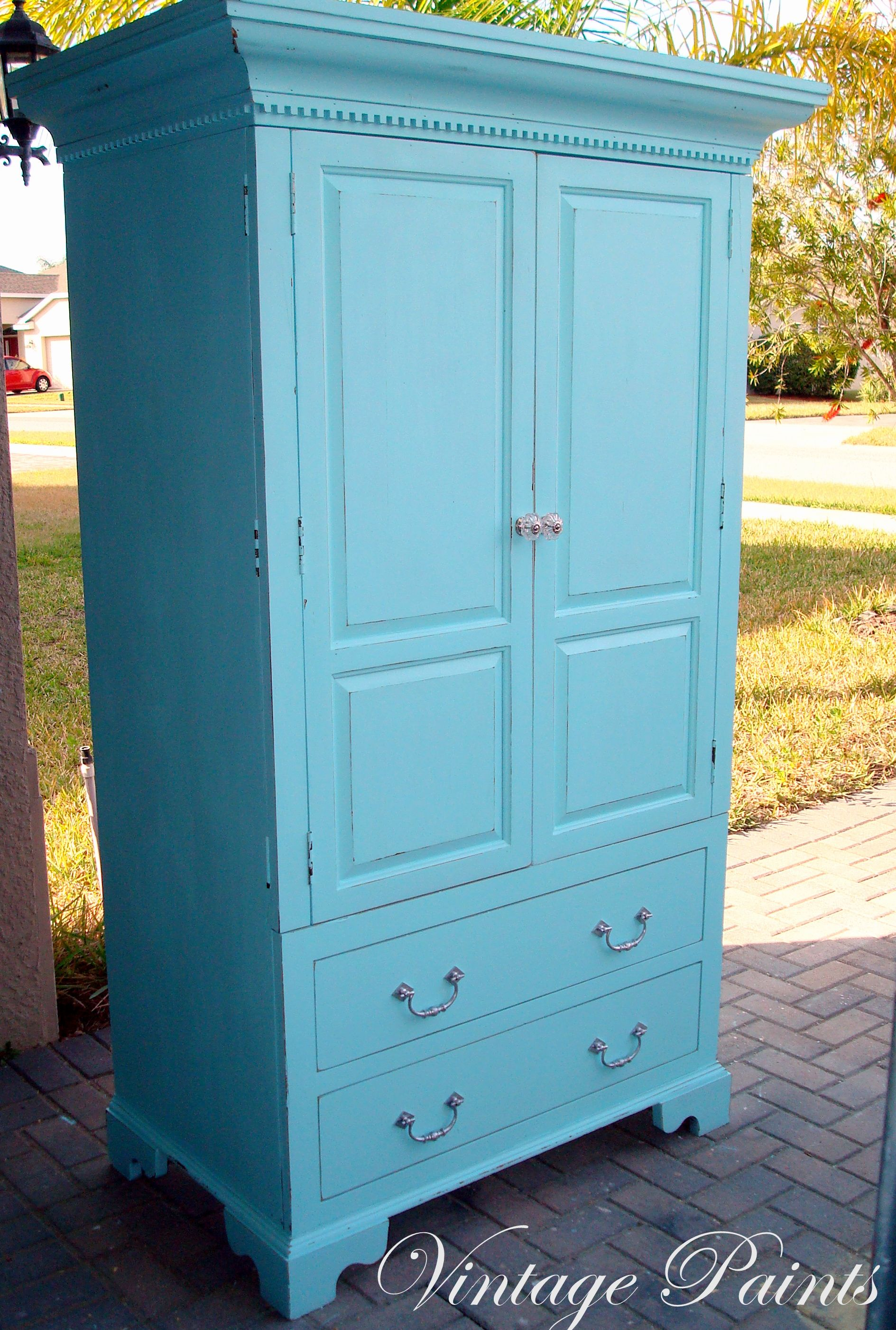 Aqua Armoire For A Babyu0027s Nursery! Upcycled TV Armoire, Distressed And  Painted. #