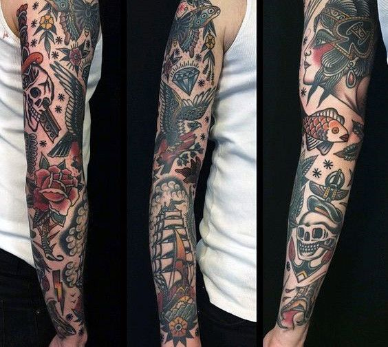 Traditional Sleeves Tattoos For Guys Traditional Tattoo Traditional Tattoo Sleeve Old School Tattoo Sleeve