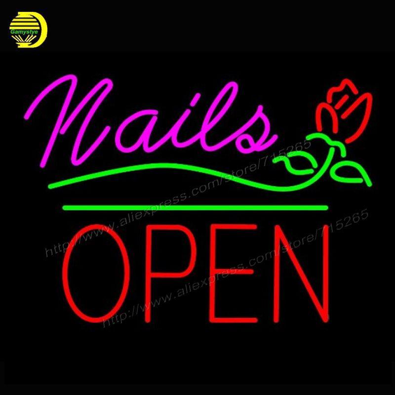 Neon Sign Nails Block Open GlassTube Affiche shop Lamp custom neon ...