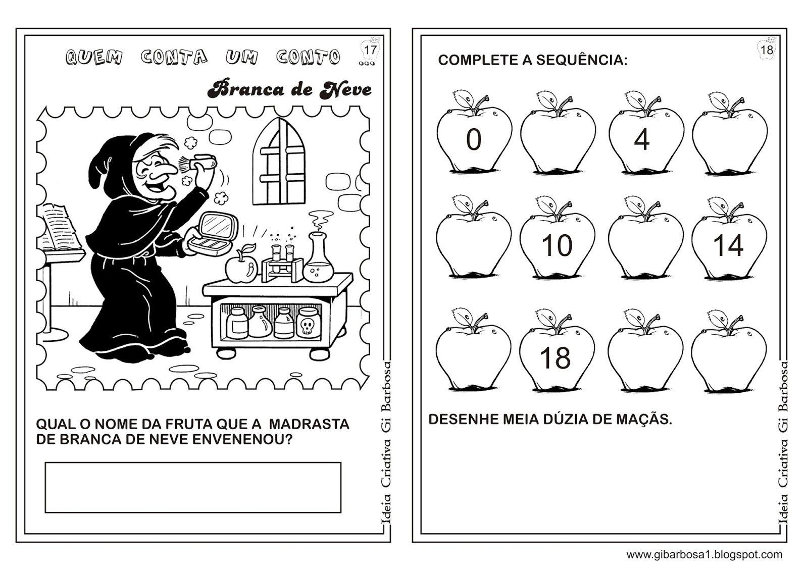 Caderno de Atividades Branca de Neve Projeto Contos de Fada ...