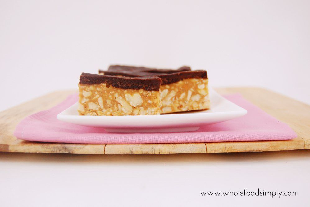 Mix and Make Snickers Slice! Simple and really delicious! One bowl, no blend and free from gluten, grains, dairy, egg and refined sugar. Enjoy.