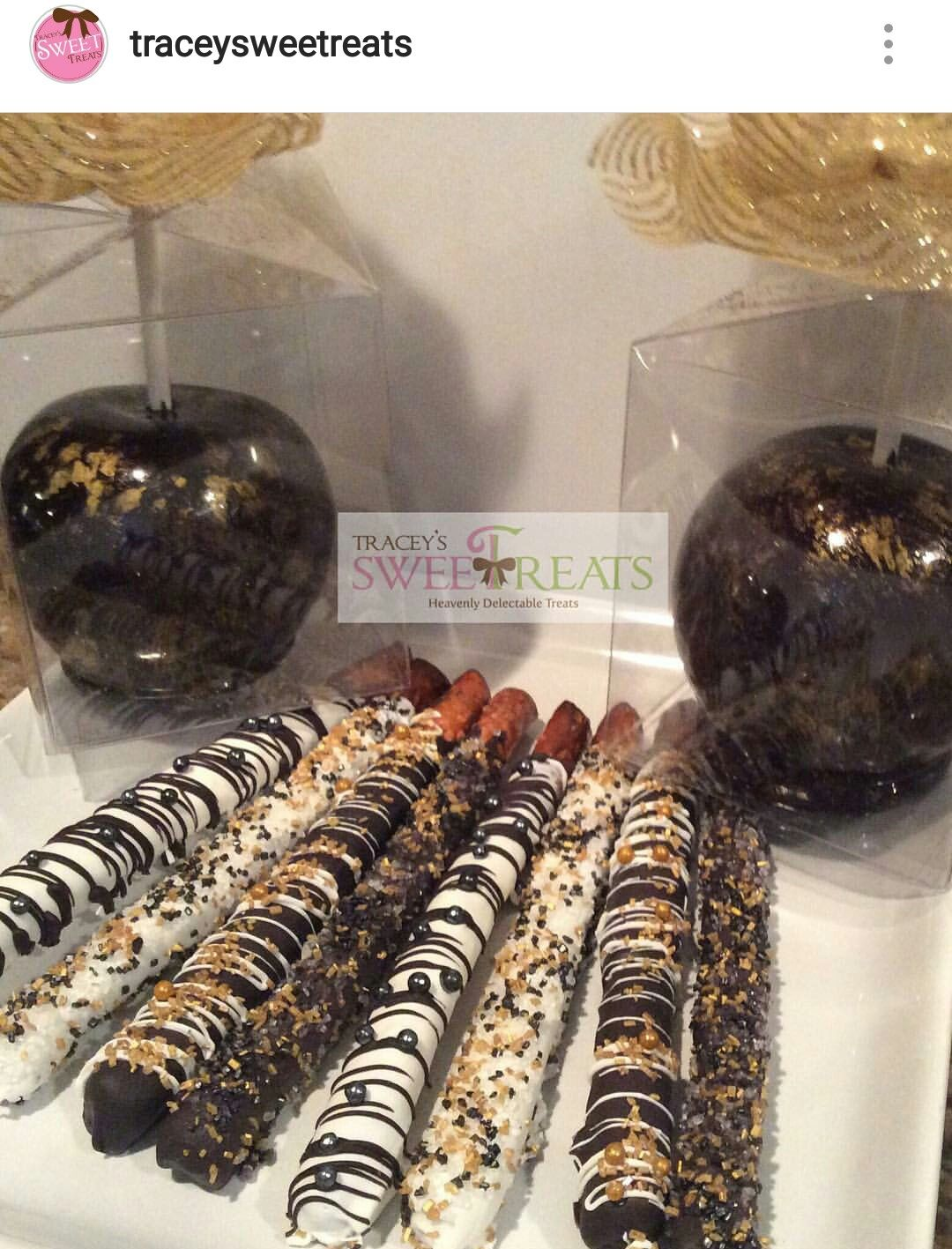 Black And Gold Candy Apples And Pretzels Tracey S Sweet