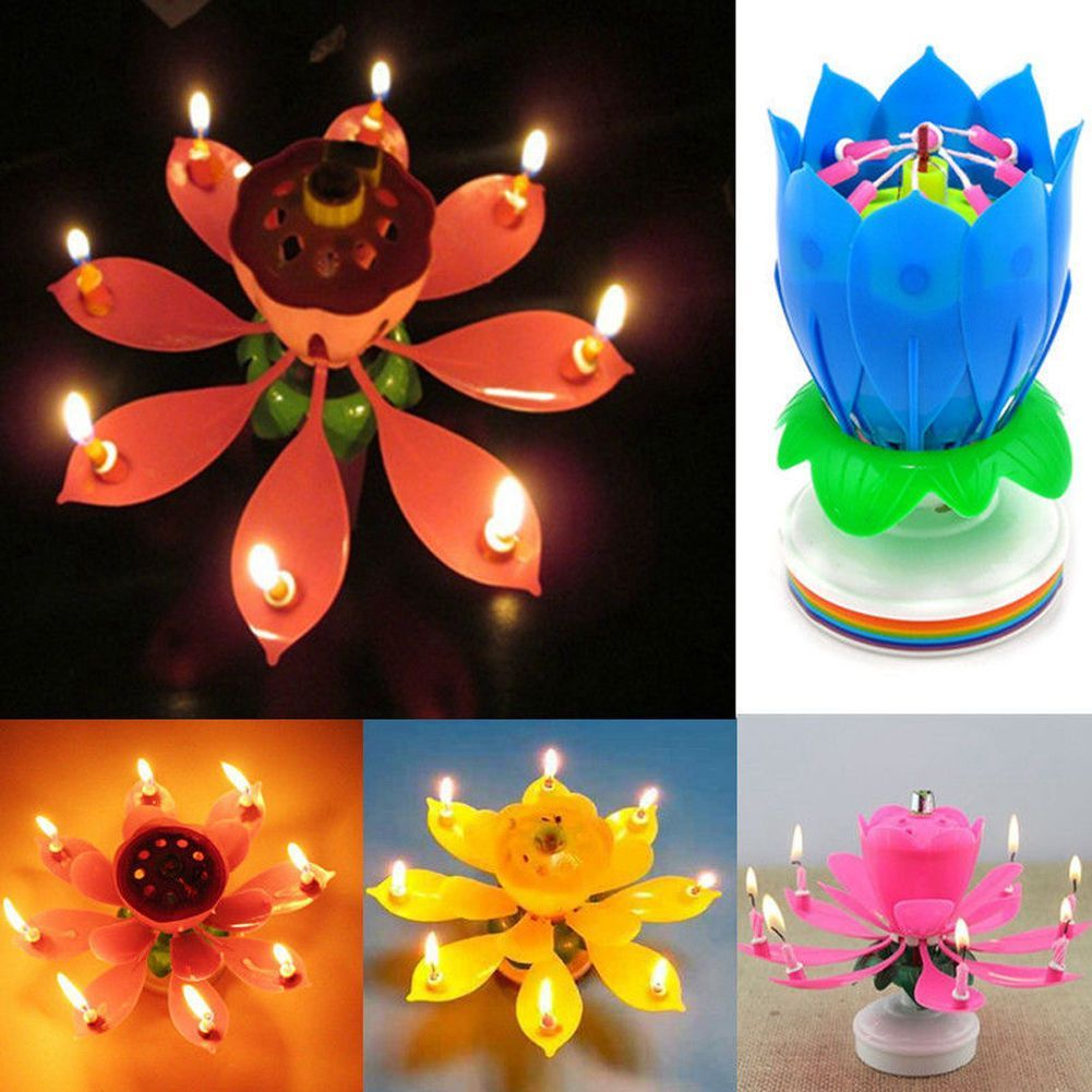 Musical Rotating Lotus Flower Candle Lights Happy Birthday Romantic Party Magic