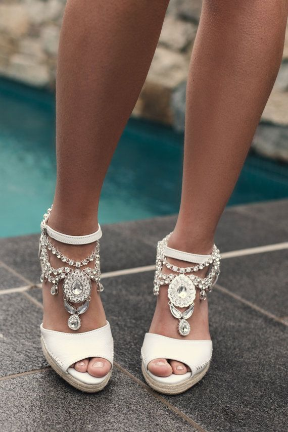 6a8e86da191 Bridal Espadrille Wedge Ivory Leather Designer por ForeverSoles ...