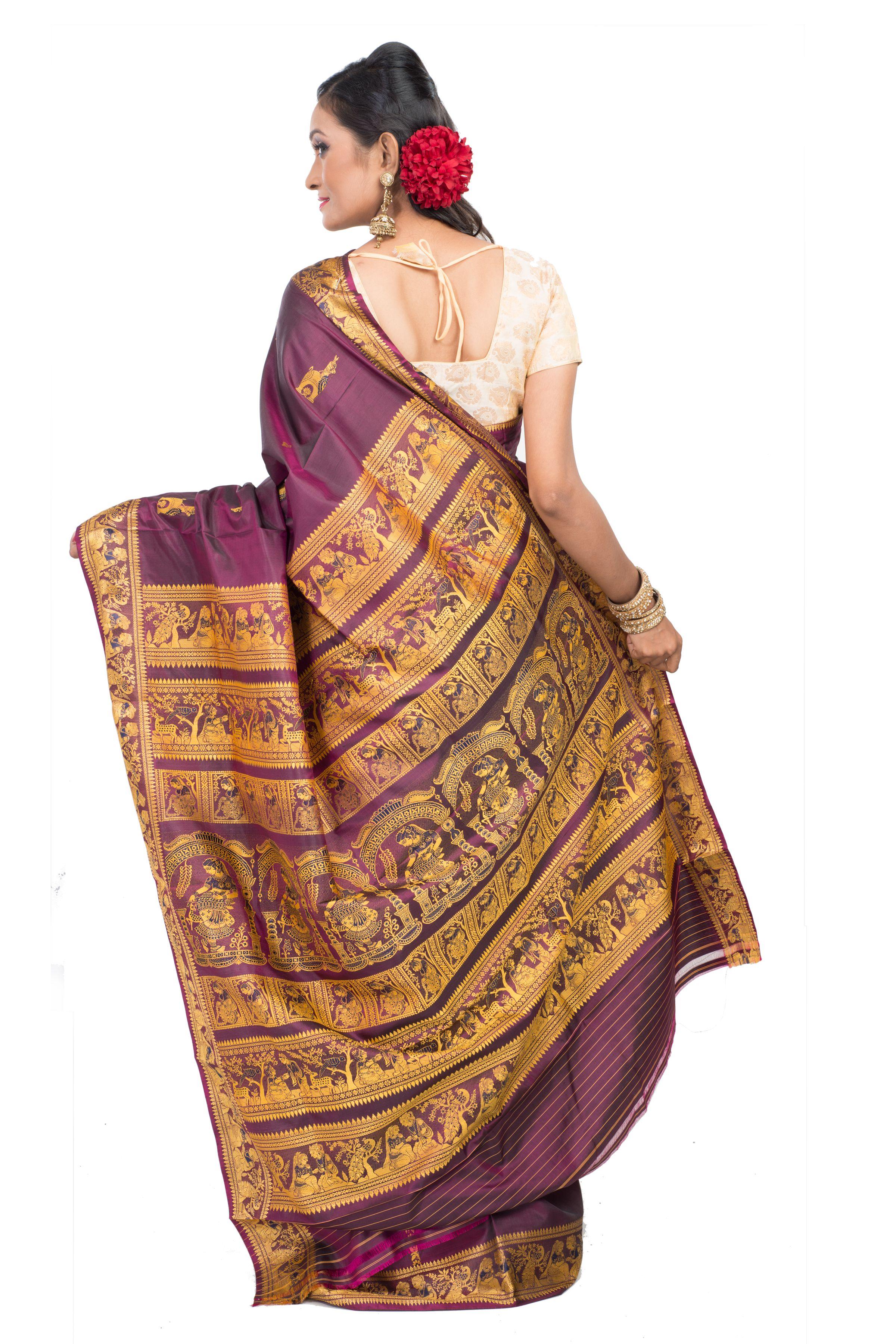 30d5685d5435cf Purple Baluchari Saree