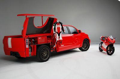 Sema Toyota Tundra Ducati Desmosedici Transporter With 500hp Carscoops Truck Tools Ducati Cool Trucks
