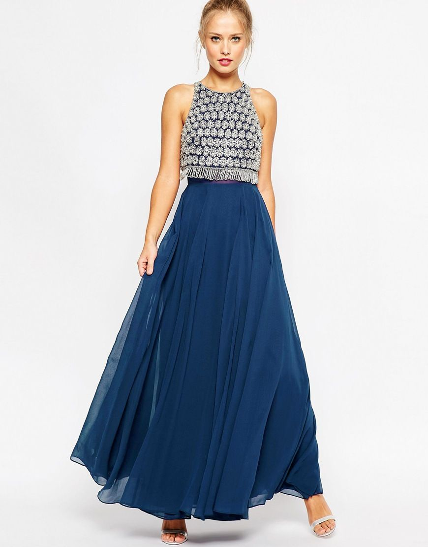 ASOS PETITE Embellished Crop Top Maxi Dress $171.00 Free Shipping Both Ways  - only avail in