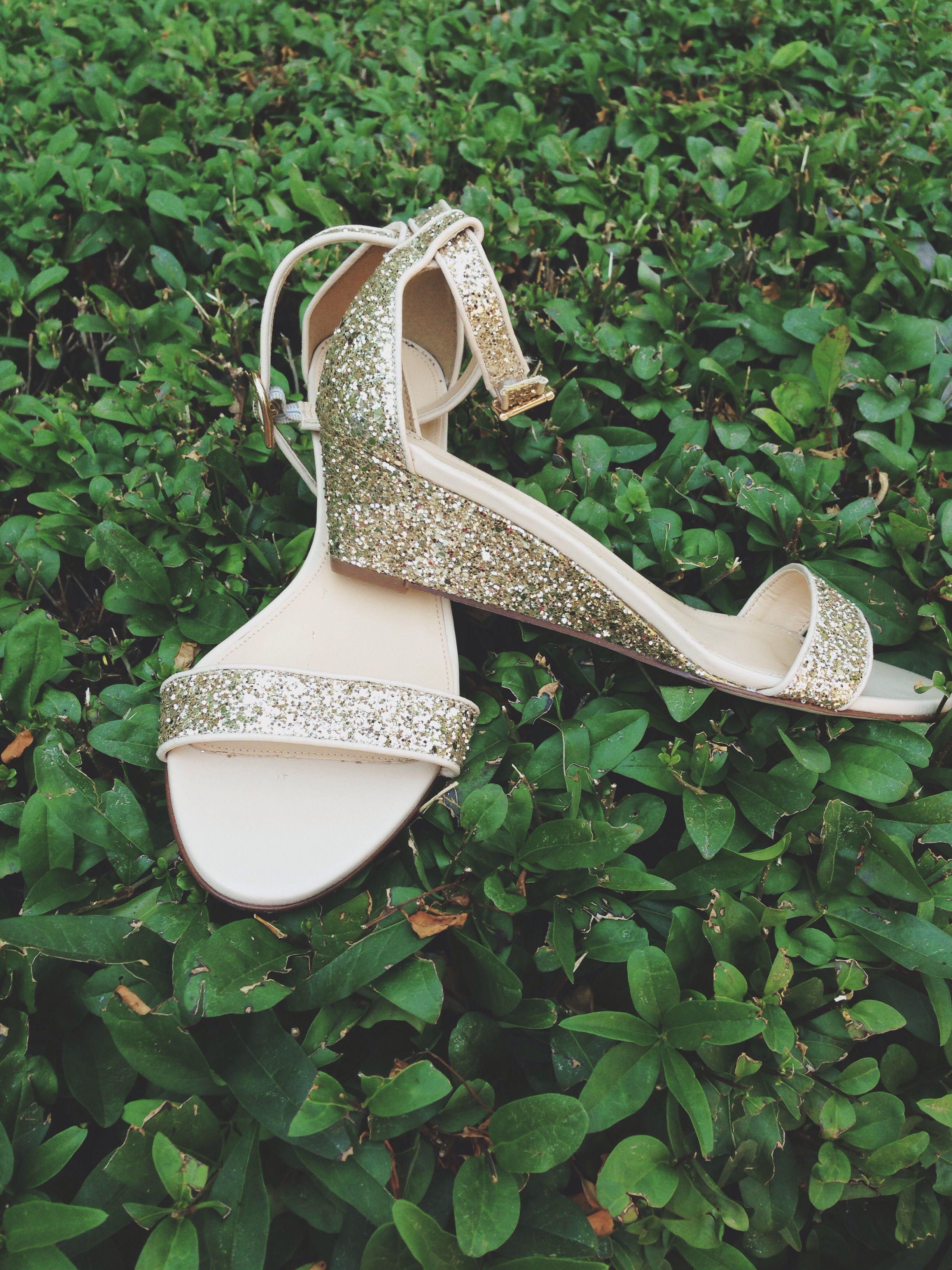 Glittery sandals.