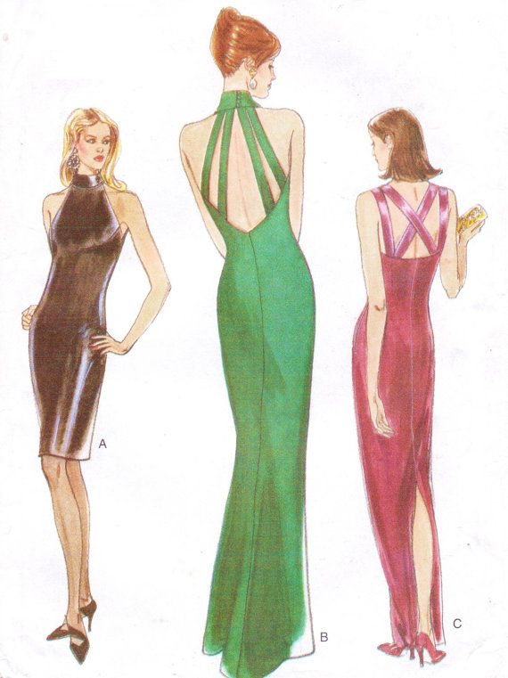 90s Vogue Sewing Pattern 9400 Womens Bias Cut Sexy Old Hollywood ...